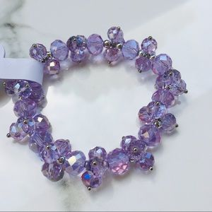 Amethyst crystal silver bracelet stretch purple